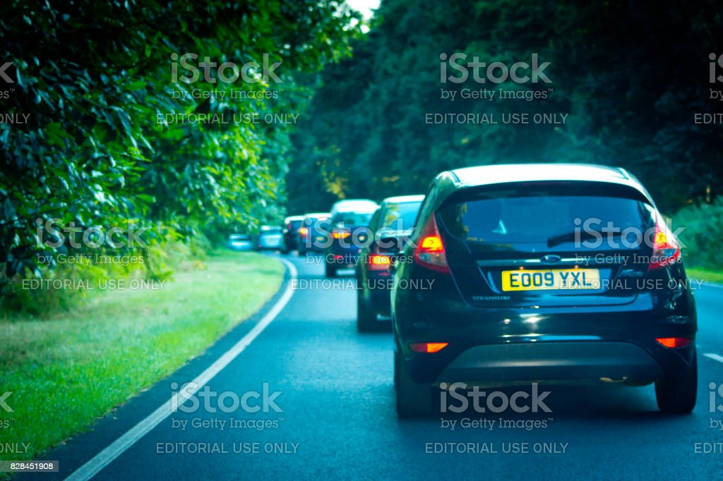 Queue of traffic on the A47 stock photo