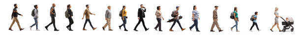 Queue of young and elderly people walking Queue of young and elderly people walking isolated on white background side view stock pictures, royalty-free photos & images