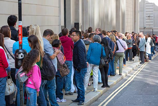 Queue on the Bank street. London stock photo