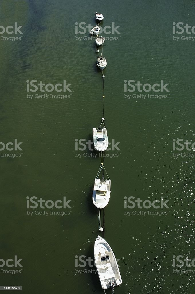 Queued boat stock photo