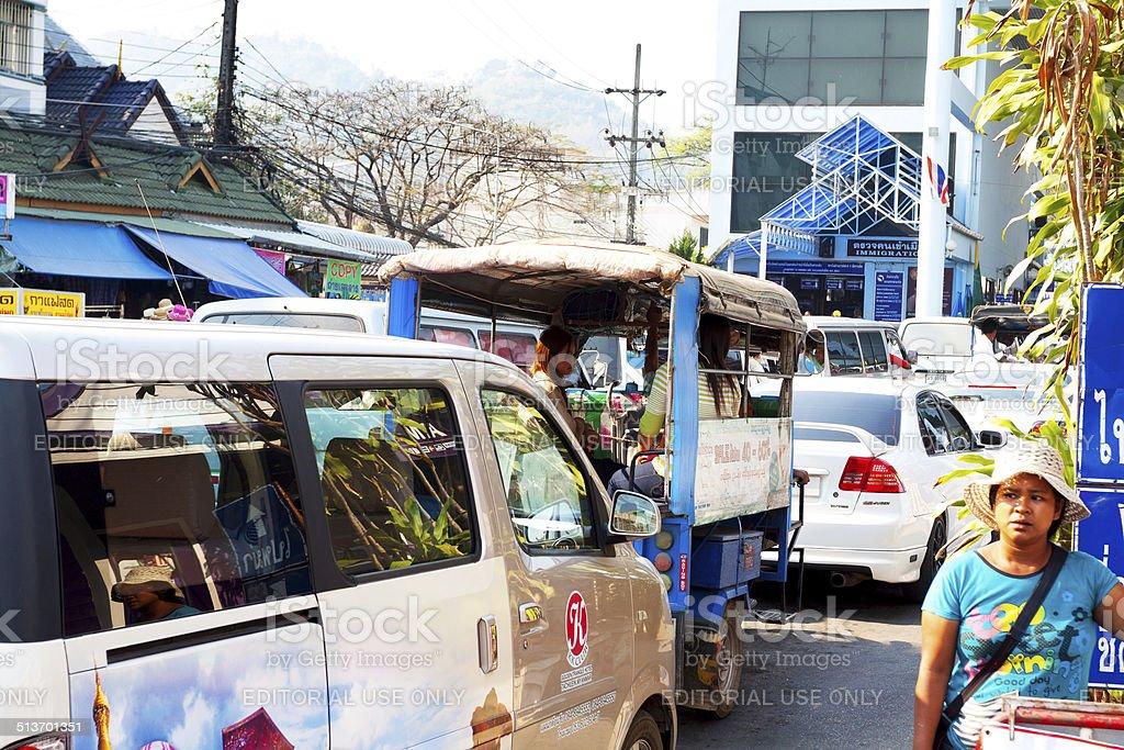 Queued cars at border Thailand - Myanmar stock photo