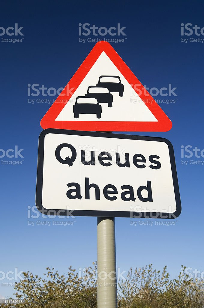 Queues ahead road sign royalty-free stock photo