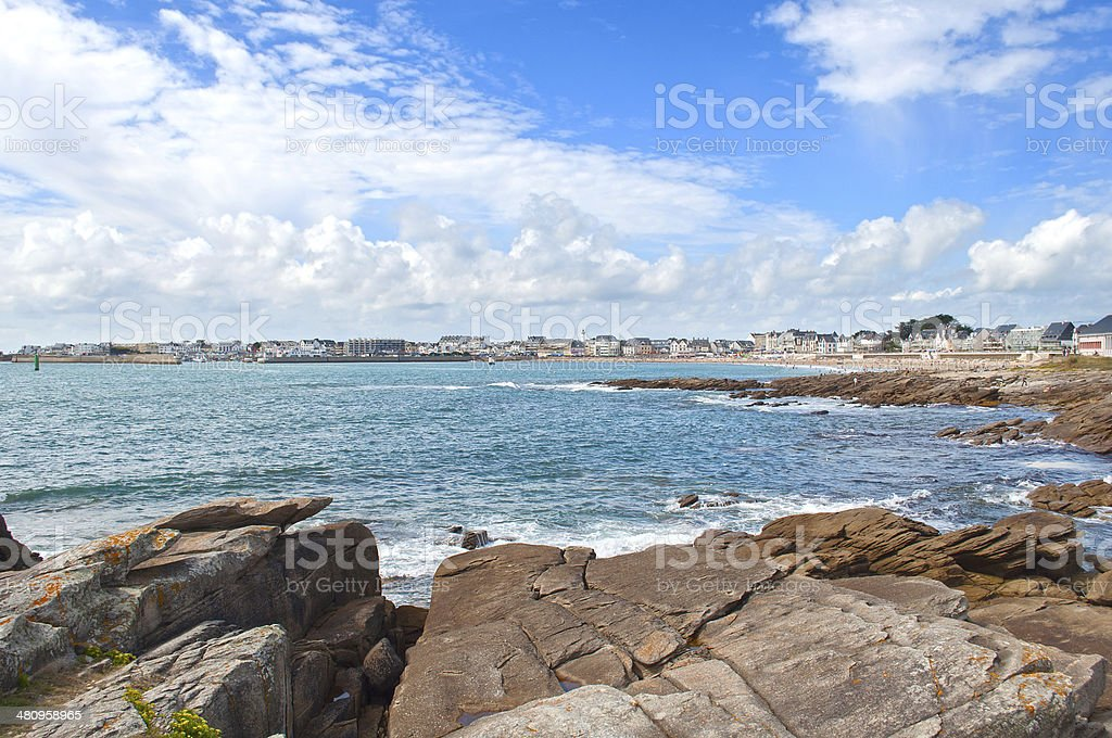 Quiberon city view from the cliffs stock photo