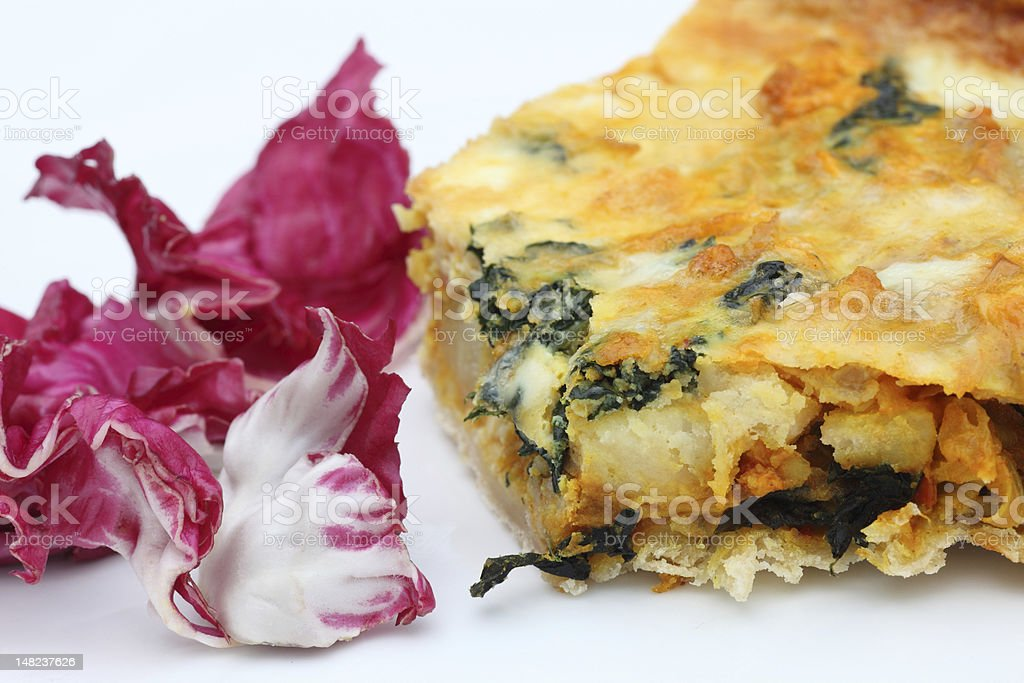Quiche and chicory stock photo