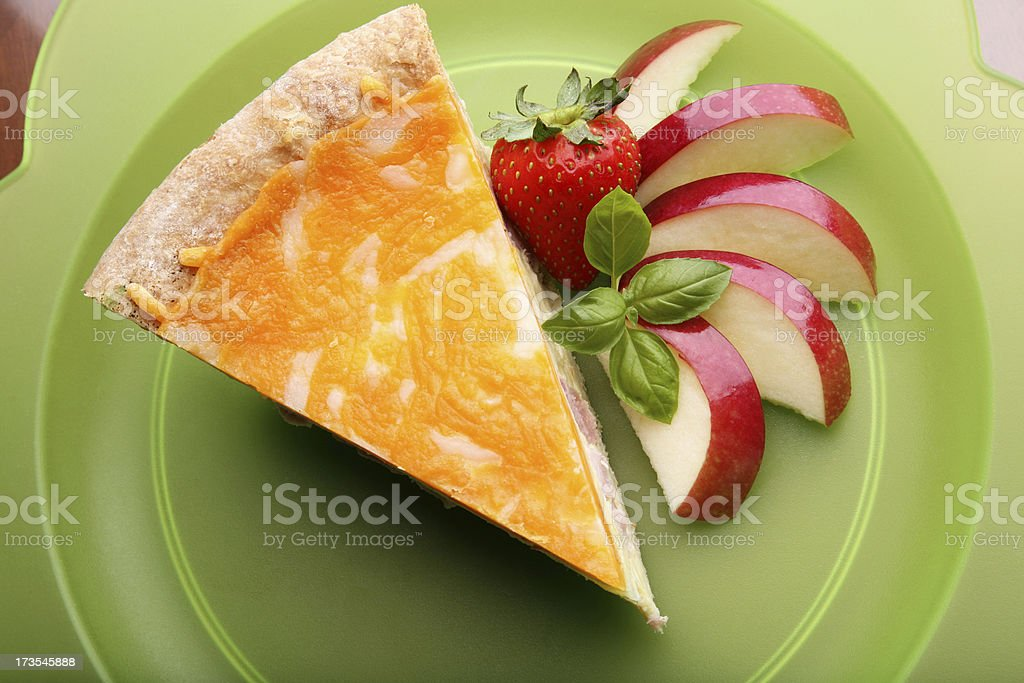 Quiche with Apples Strawberries and Basil royalty-free stock photo