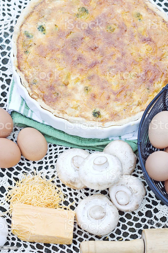 Quiche with ingredients royalty-free stock photo