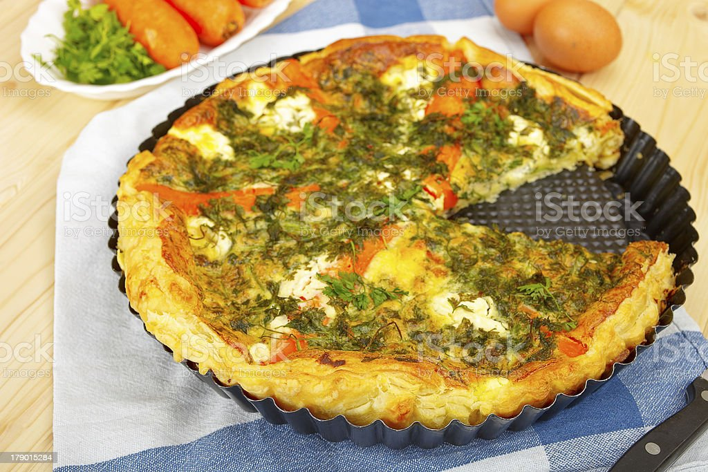 Quiche with vegetables royalty-free stock photo