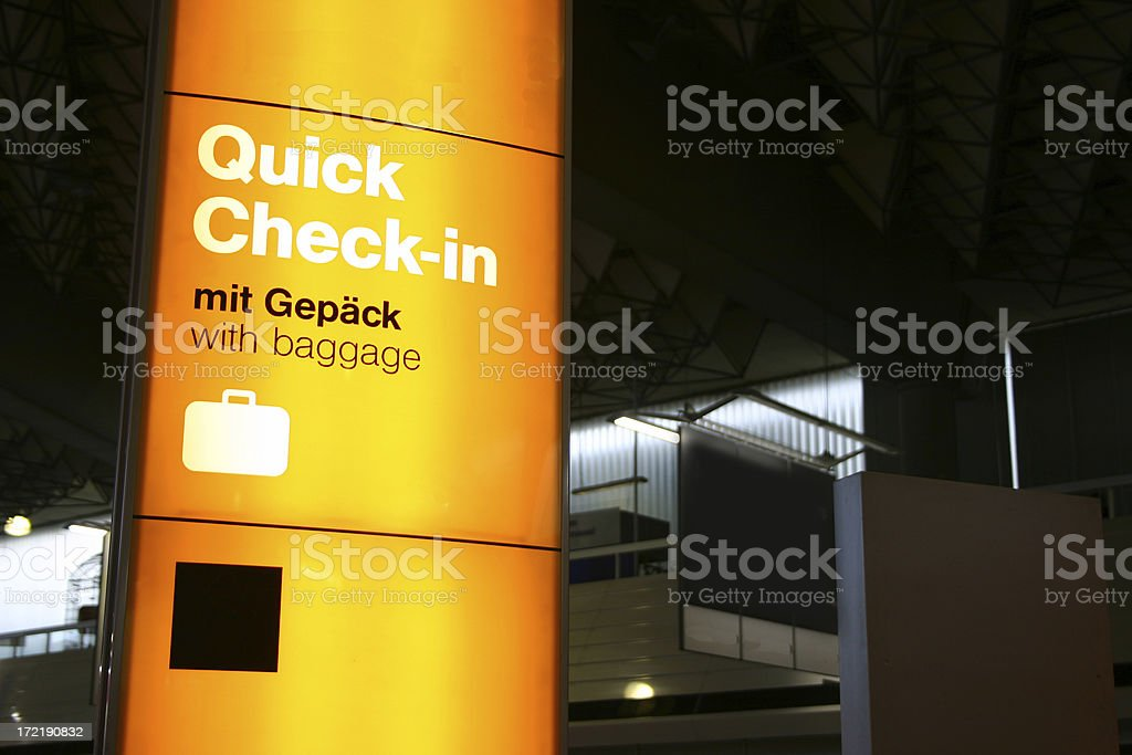 Quick check in with luggage stock photo