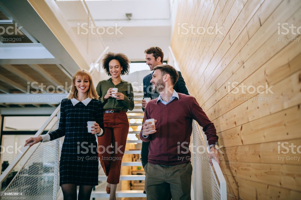 A quick coffee break stock photo