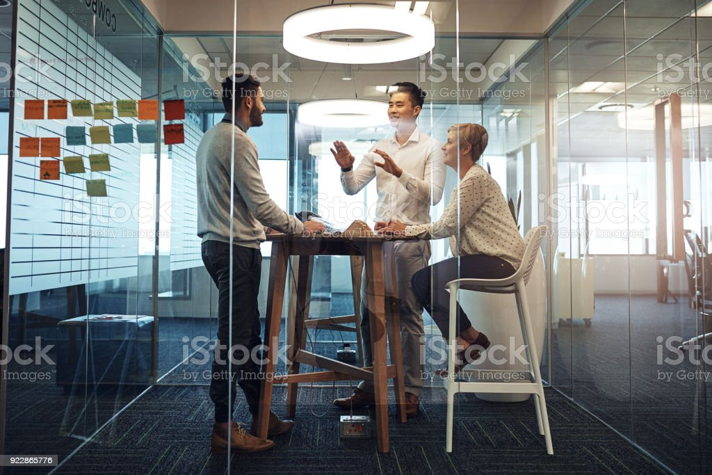 Quick meeting before lunch stock photo
