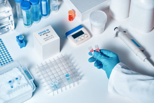 Quick novel COVID-19 coronavirus test kit. 2019 nCoV pcr diagnostics kit. The kit detects covid19 virus in patients samples. Тesting system for real-time PCR amplification. stock photo