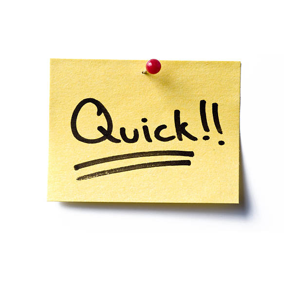 Quick! post-it a yellow post-it note with the word 'quick!!' written in black marker pen. ASAP stock pictures, royalty-free photos & images