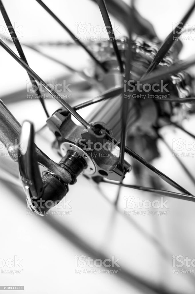 quick release on bicycle wheel stock photo