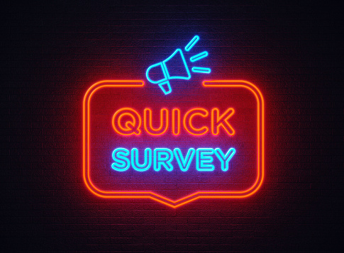 istock Quick Survey Shaped Neon Light On Black Wall 1140382228