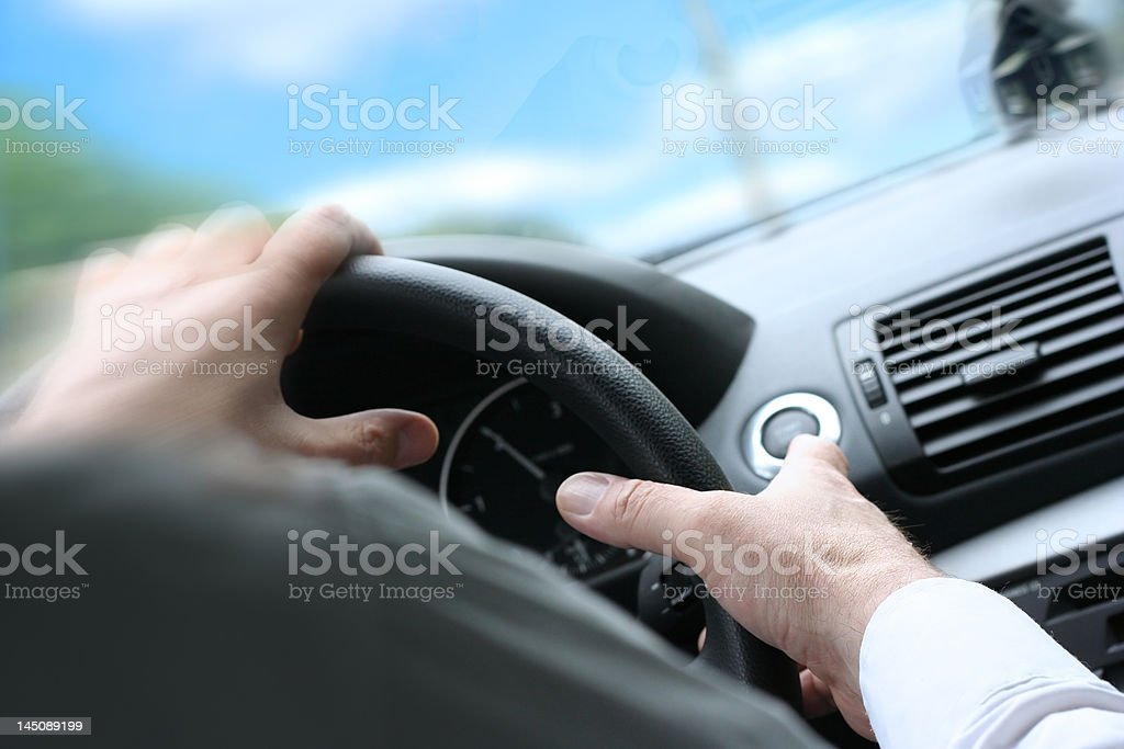 Quick Turn / Driving a Car / Steering Wheel royalty-free stock photo