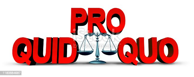 Quid pro quo law concept as a business transaction or unethical political action in giving something for a favour as an exchange or transfer of services or goods as a give and take legal symbol as a 3D illustration.