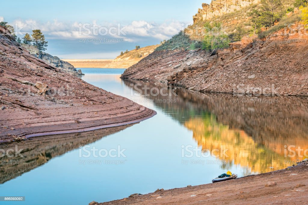 quiet afternoon on a mountain lake stock photo