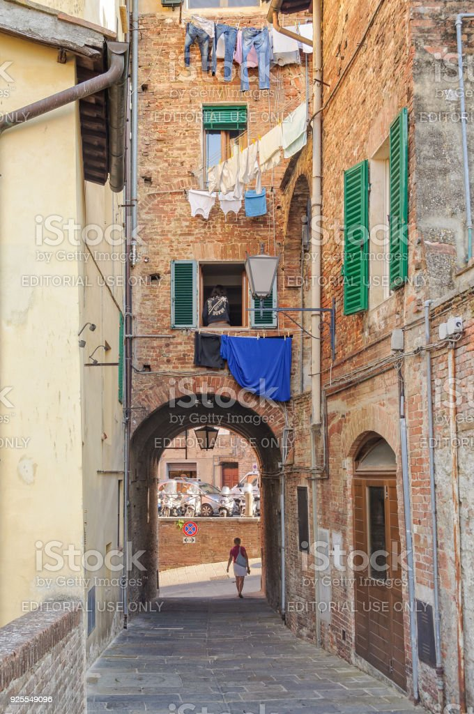 Quiet alley - Siena stock photo