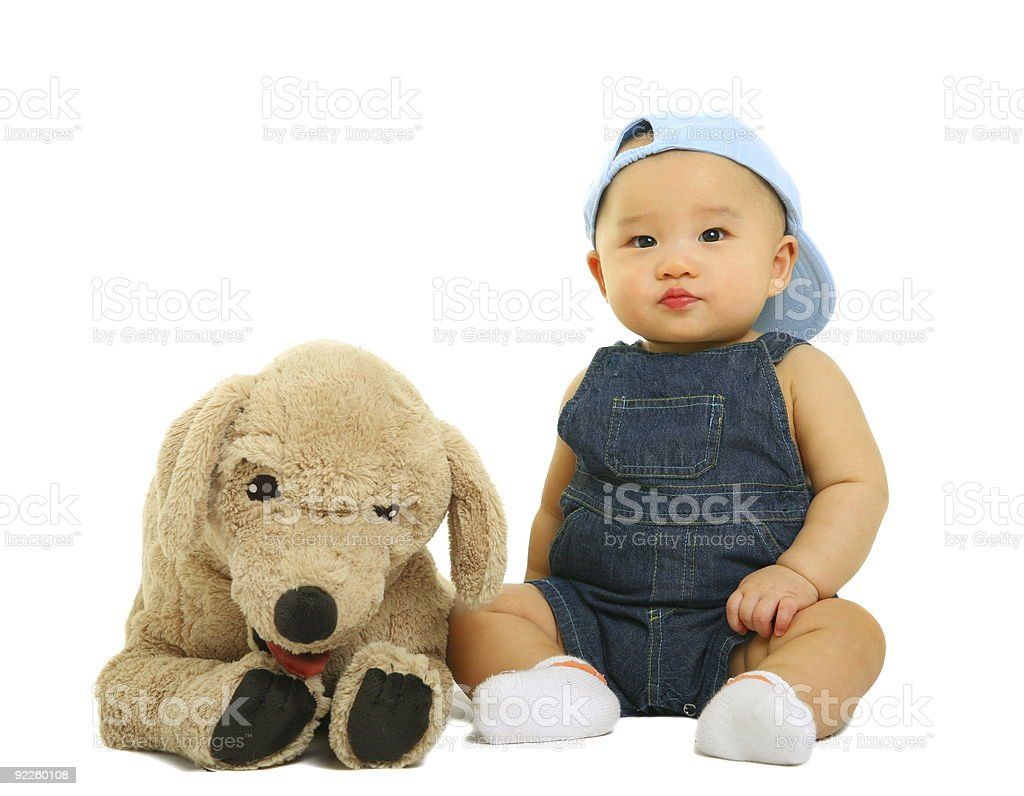 Quiet Baby With His Stuffed Animal royalty-free stock photo