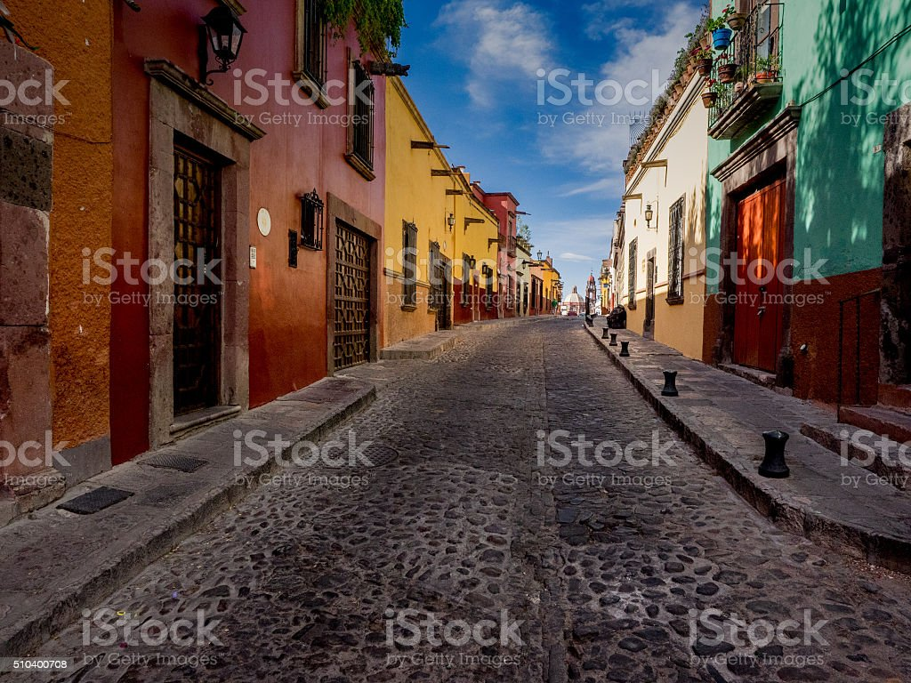 Quiet Backstreet in San Miguel de Allende stock photo