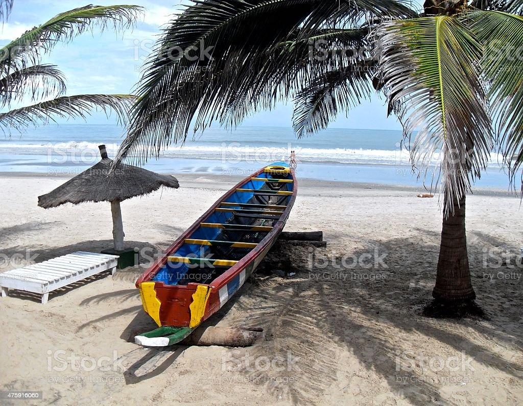 Quiet Beach in Gambia stock photo