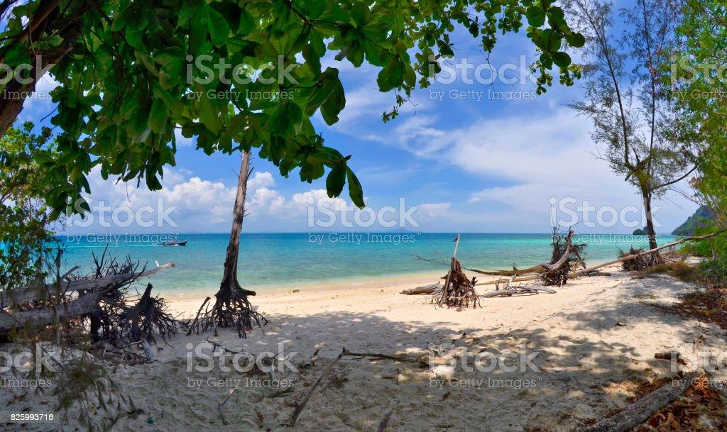 Quiet beach on Poda island stock photo