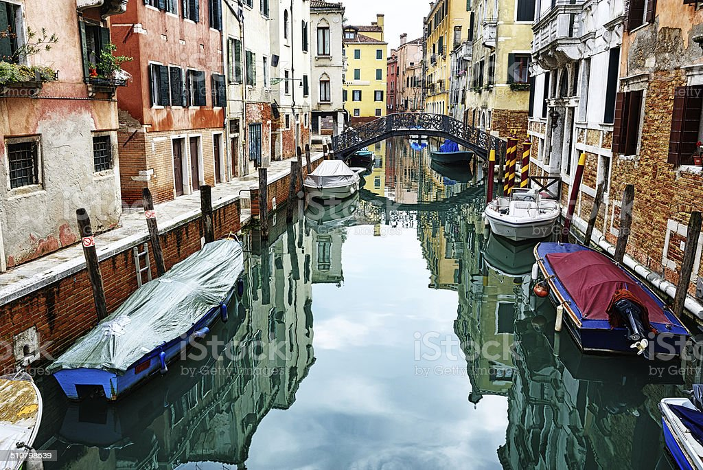 Quiet canal in the Cannaregio district, Venice stock photo
