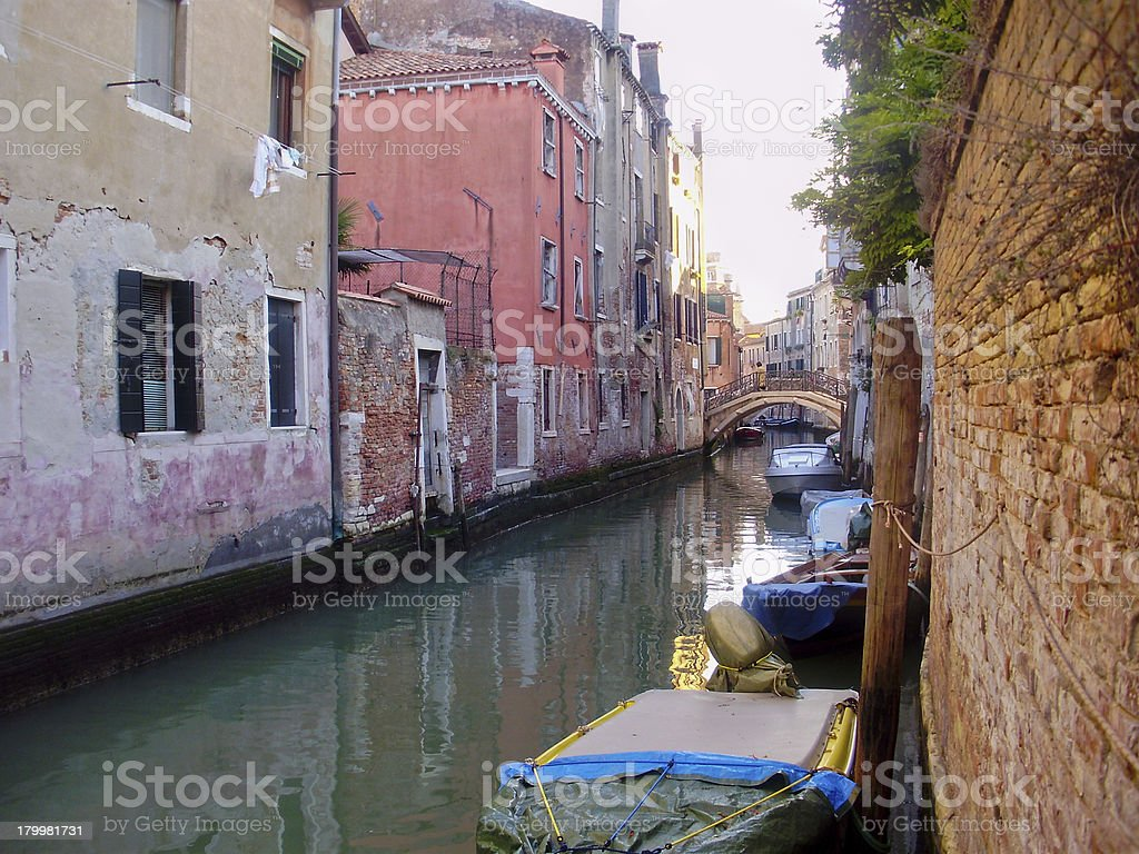 Quiet canal in Venice, Italy royalty-free stock photo