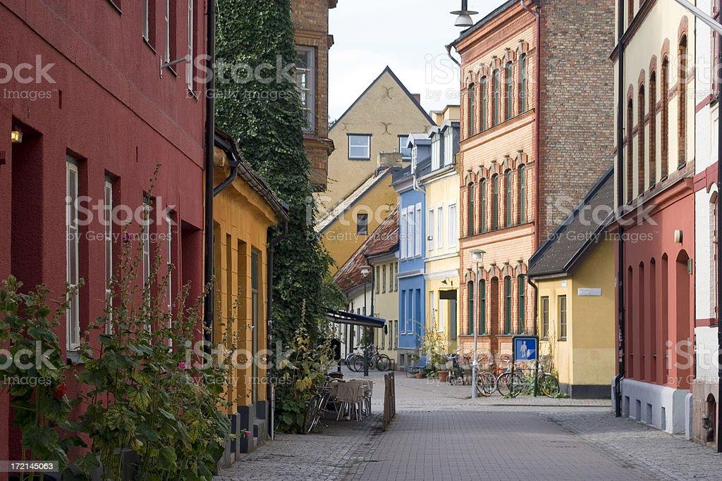 Quiet city street, Malmo, Sweden stock photo