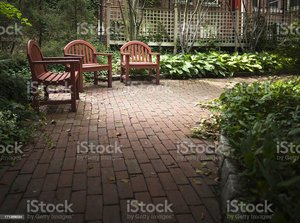 Quiet Corner in a Peaceful Garden stock photo