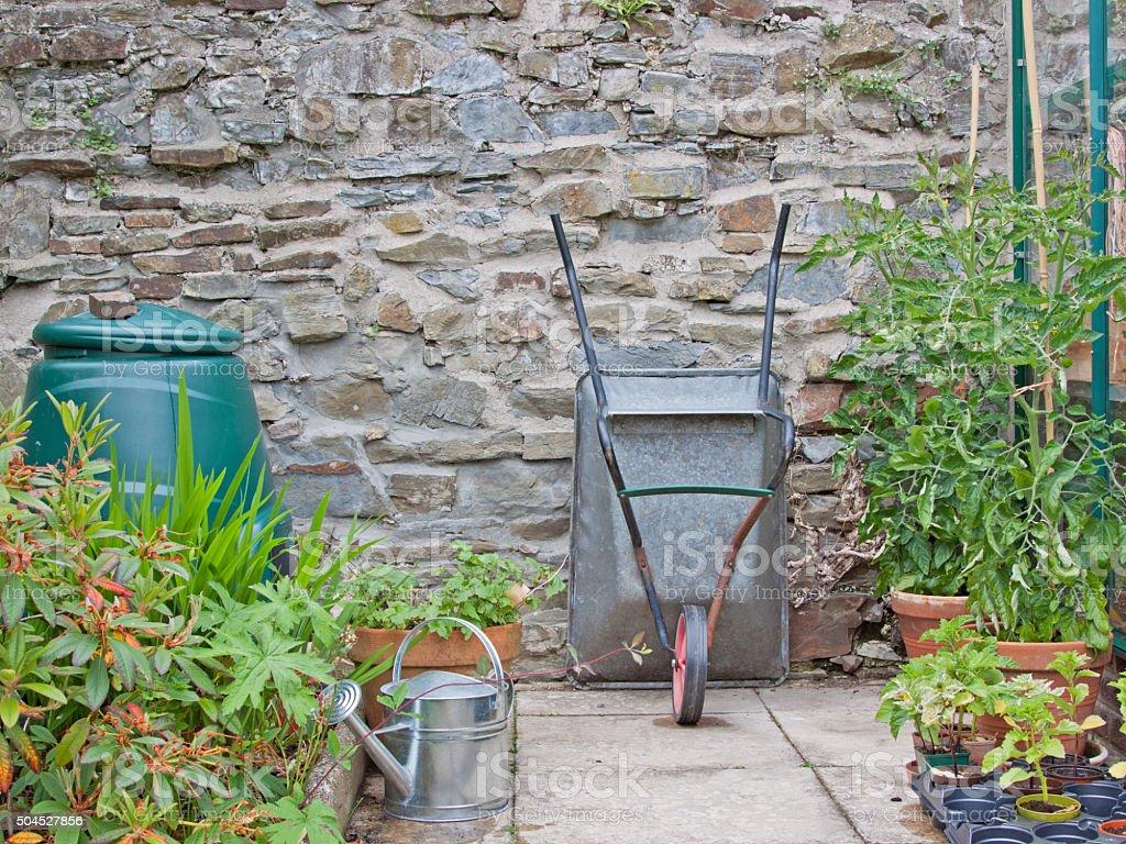 Quiet corner of the garden in early summer UK stock photo