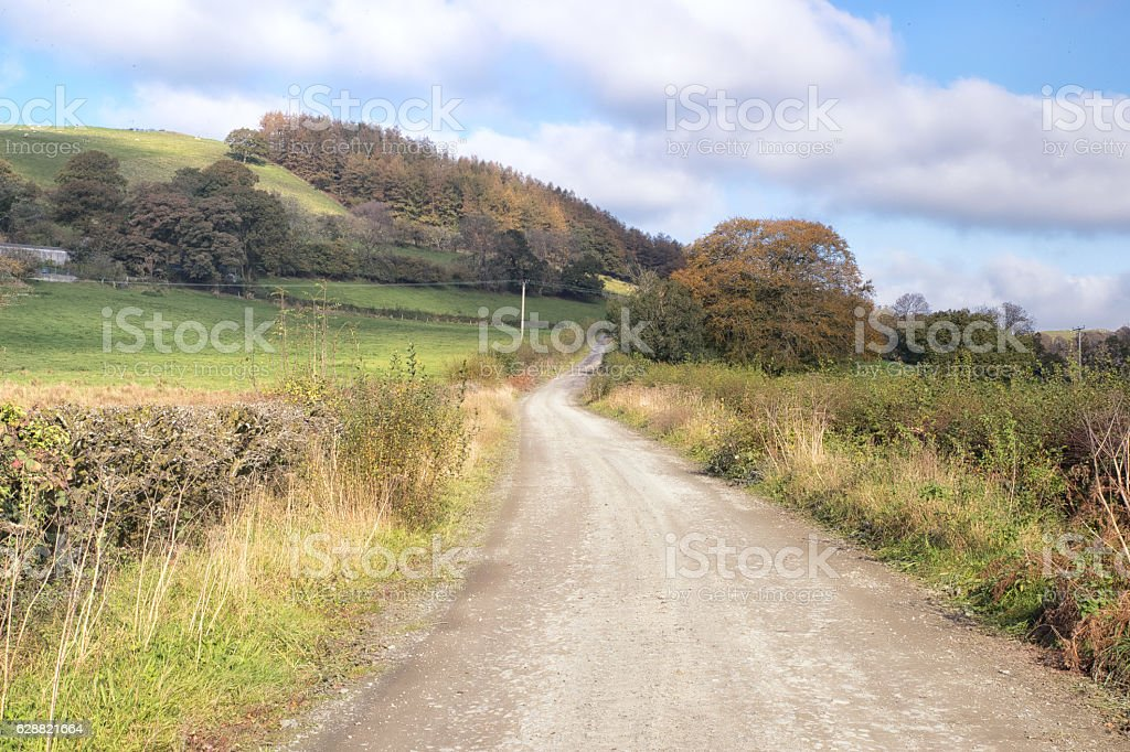 Quiet country lane in rural Wales stock photo