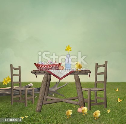Springtime picnic with easter eggs – 3D illustration