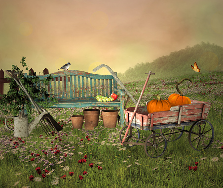 Autumnal landscape with gardening tools and pumpkins