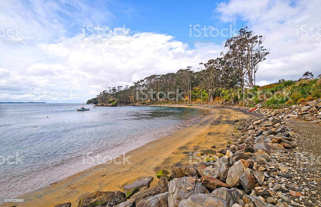 Quiet Cove on a Rustic Coastline stock photo