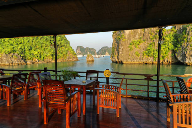 Quiet dusk on Ha long Bay From the Junk deck Bar