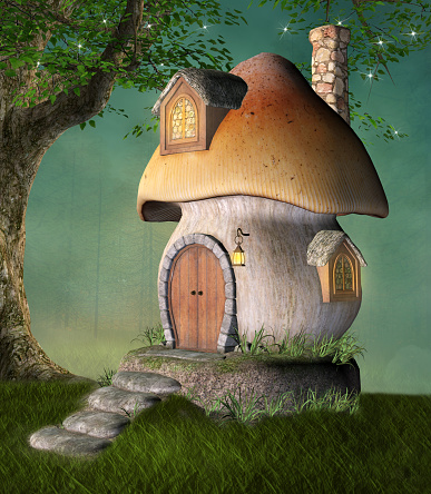 istock Quiet elf house in the shape of a big mushroom 1141075861