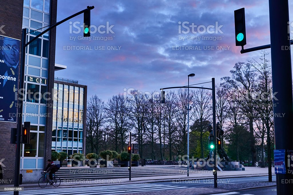Quiet evening outside Odense railway station stock photo