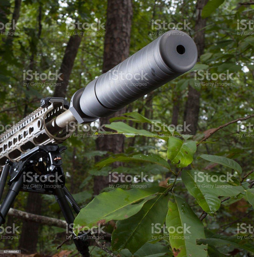 Quiet firearm stock photo