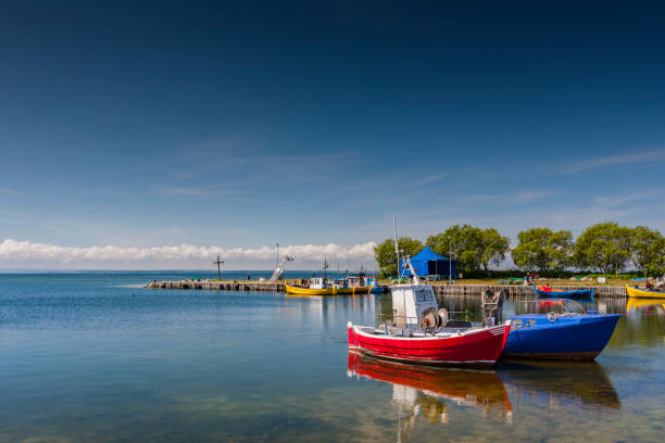 A quiet fishing port and small fishing boats