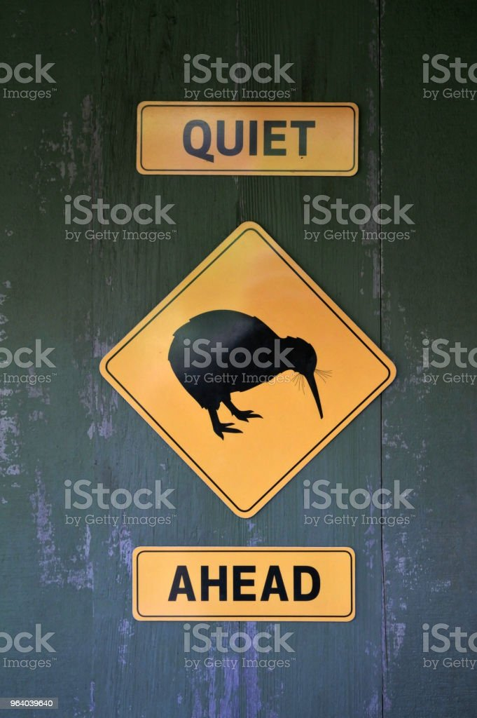 Quiet Kiwi Ahead sign - Royalty-free Animal Stock Photo