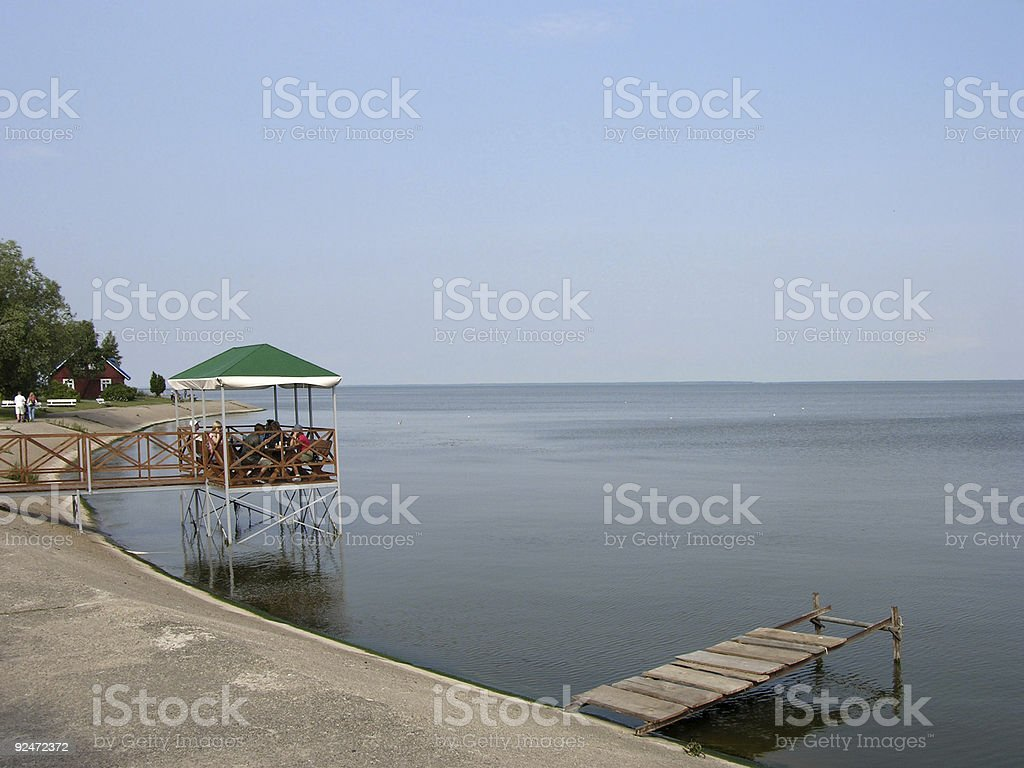 Quiet lunch at pier royalty-free stock photo