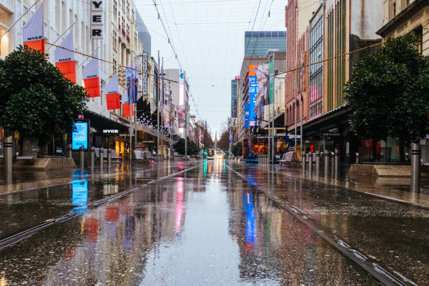 Quiet Melbourne Streets During Coronavirus Pandemic and Stage 4 Lockdown stock photo