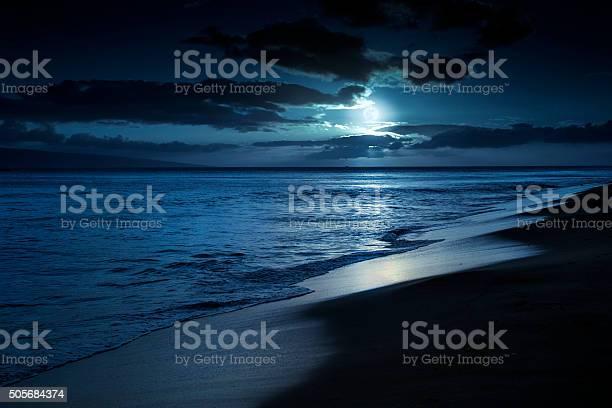 Photo of Quiet Moonlit Beach in Maui Hawaii