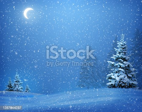istock Quiet night snowfall in a pine forest. The moon in the night sky. Snowflakes swirl in the moonlight. Christmas night. 1257844237