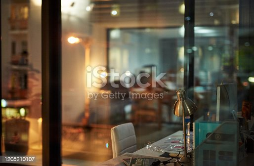 Shot of an empty modern office late at night