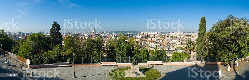 Quiet piazza overlooking Rome stock photo