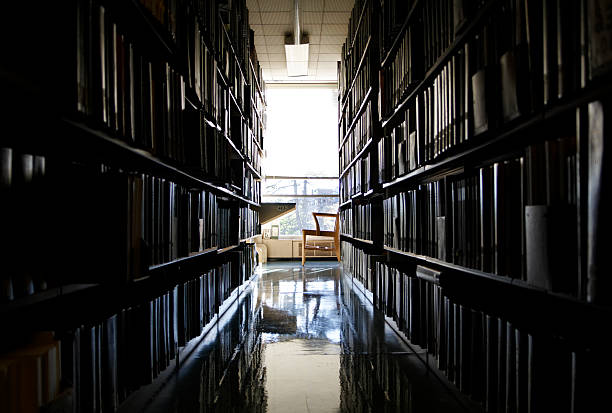 Quiet Place to Work at a Library stock photo