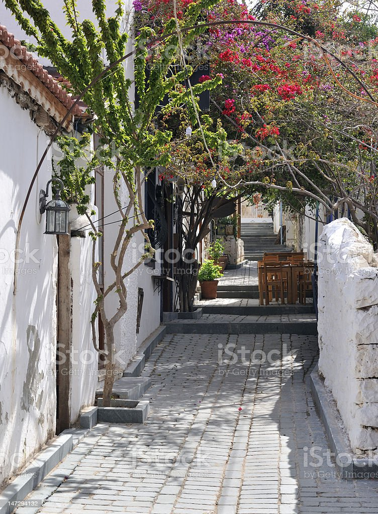 Quiet shaded Mediterranean alleyway royalty-free stock photo
