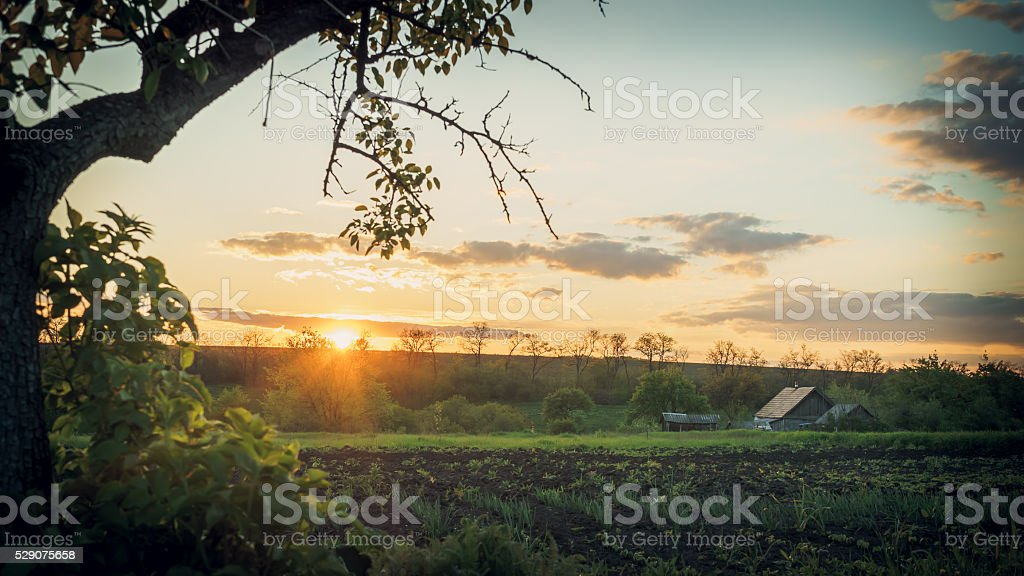 Quiet spring evening in the European village stock photo